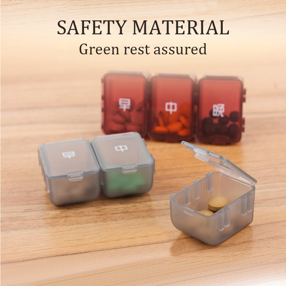 Weekly Pill Box - Portable Medicine Organizer Box with 6 Compartments, Ideal for Holding Pills, Vitamins 5