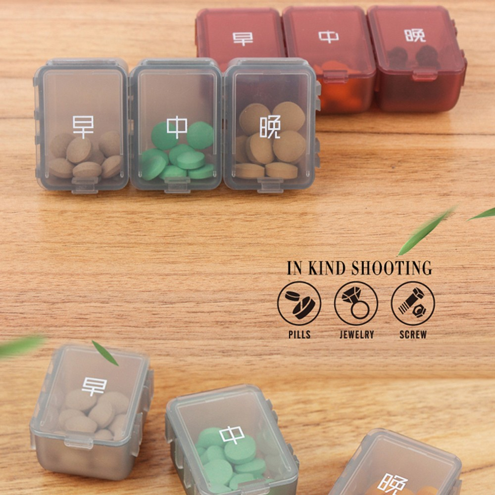 Weekly Pill Box - Portable Medicine Organizer Box with 6 Compartments, Ideal for Holding Pills, Vitamins 8