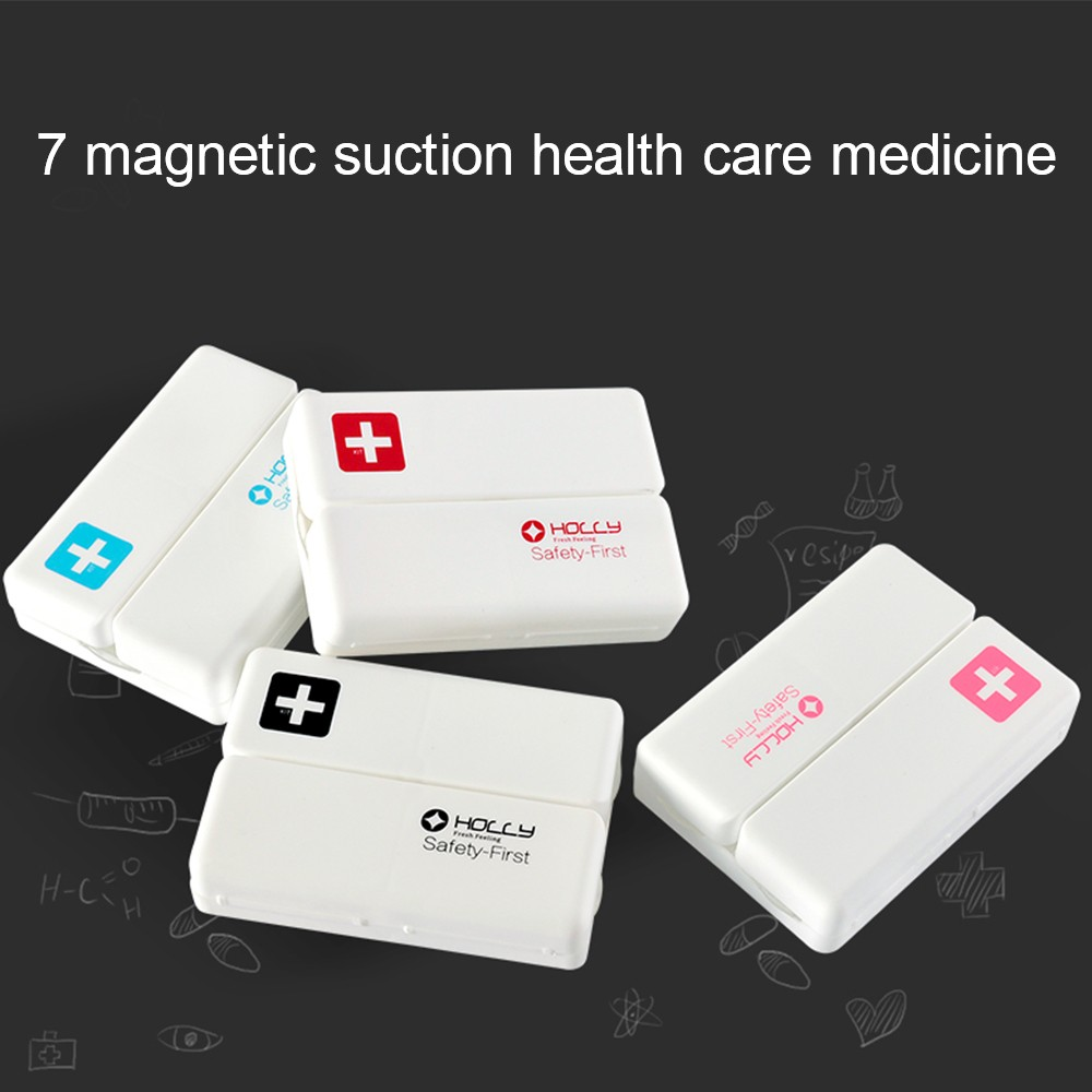 Medicine case with 7 compartments, Magnetic suction health care Large Moisture-Proof Pill Organizer for Weekly Use 10