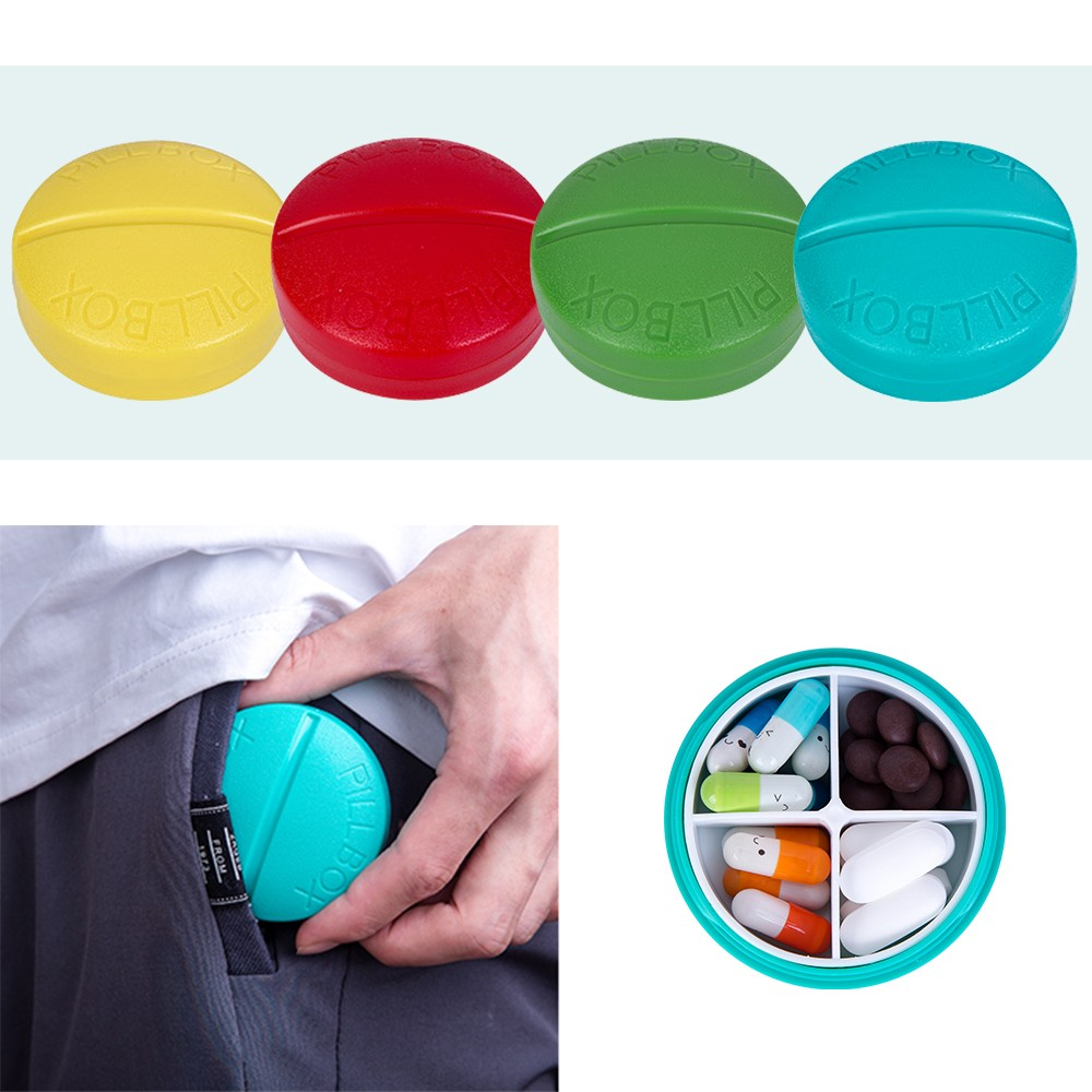 Portable Pill Organizer with 4 Compartments