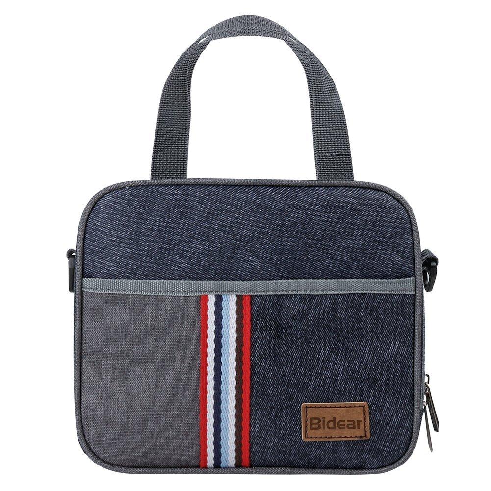 Reusable Insulated Lunch bag, Denim Blue Crossbody Lunch Bag for Women Kids Boy Girl 9