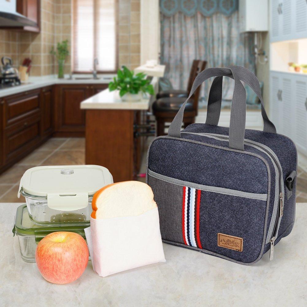 Reusable Insulated Lunch bag, Denim Blue Crossbody Lunch Bag for Women Kids Boy Girl 6