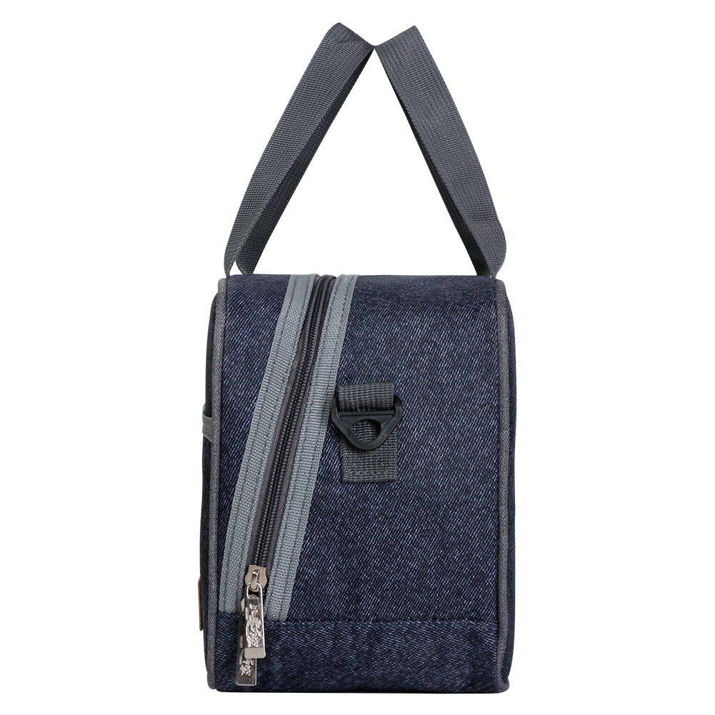 Reusable Insulated Lunch bag, Denim Blue Crossbody Lunch Bag for Women Kids Boy Girl 5