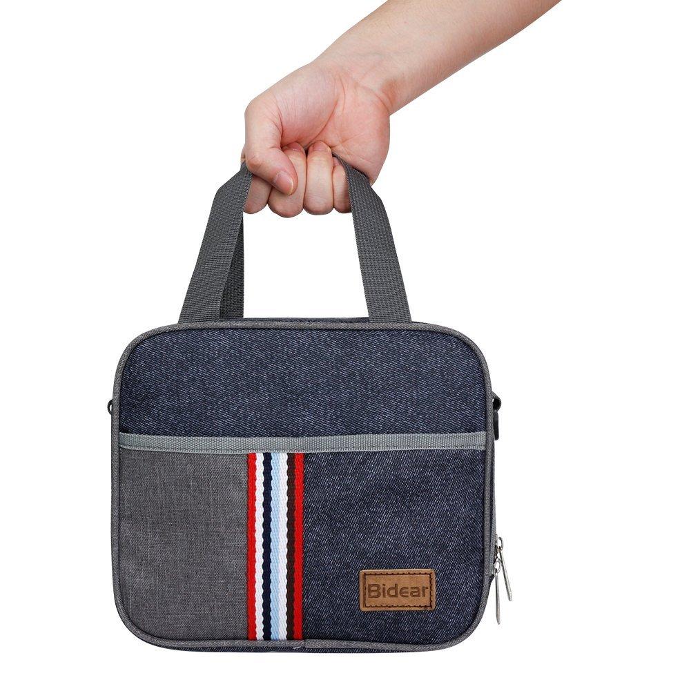 Reusable Insulated Lunch bag, Denim Blue Crossbody Lunch Bag for Women Kids Boy Girl 8