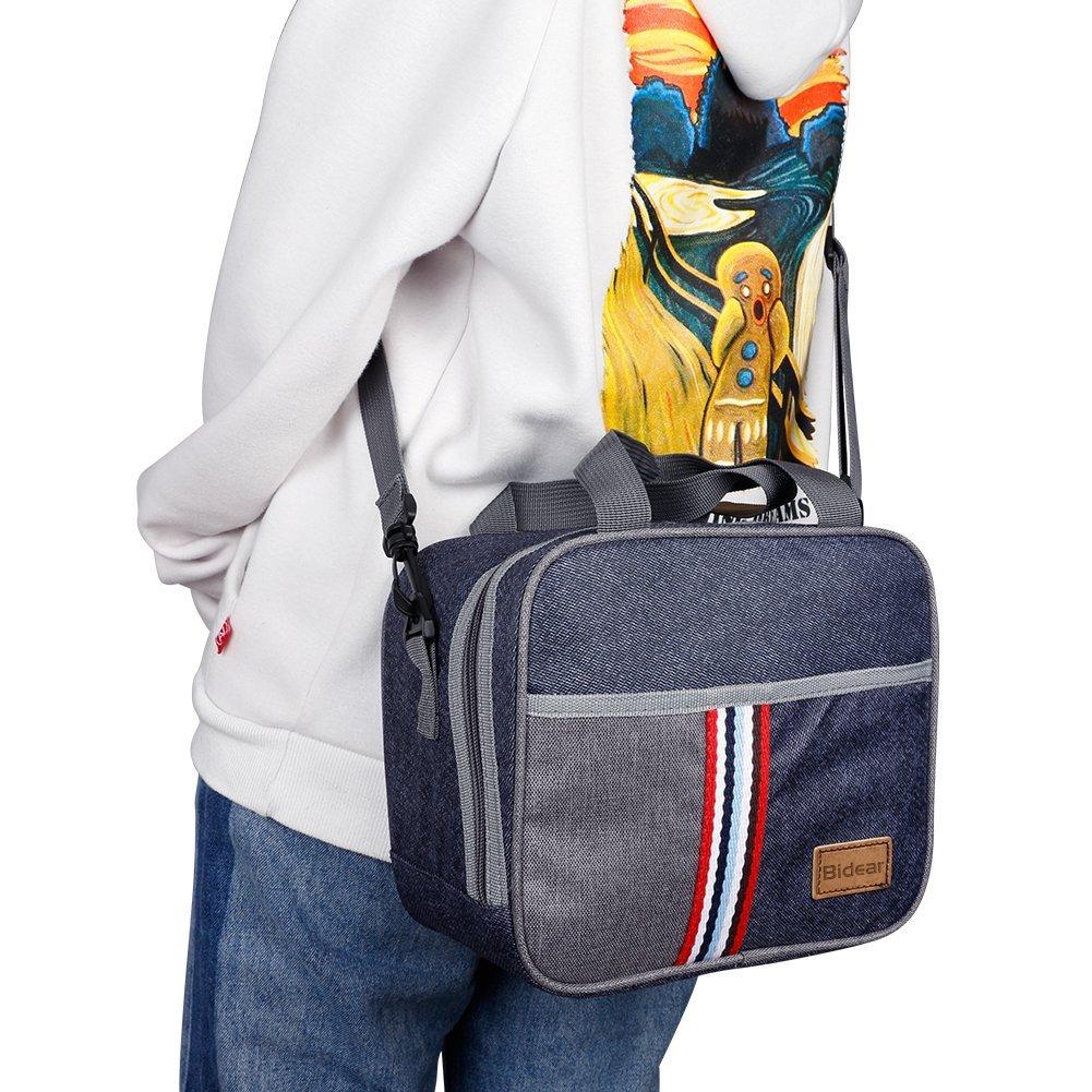 Reusable Insulated Lunch bag, Denim Blue Crossbody Lunch Bag for Women Kids Boy Girl 10