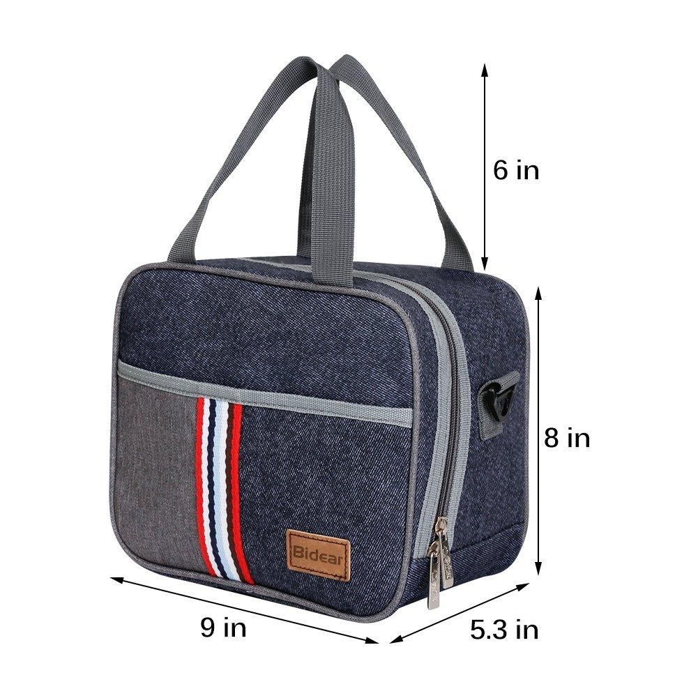 Reusable Insulated Lunch bag, Denim Blue Crossbody Lunch Bag for Women Kids Boy Girl 12