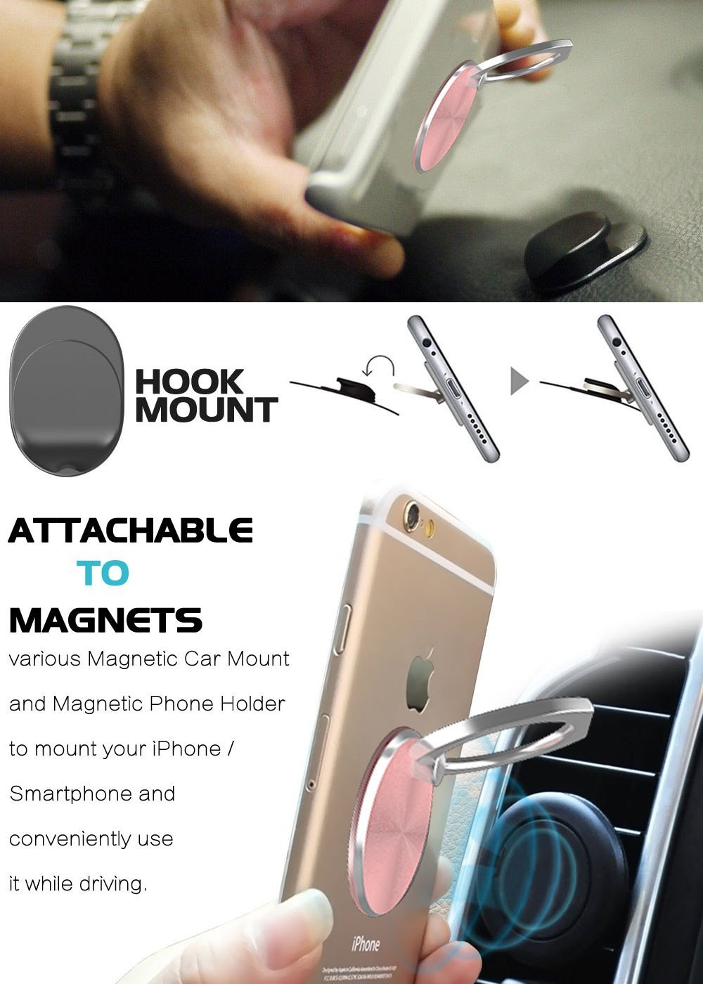 360 Degree Rotation Finger Ring Holder and Magnetic Car Mount Stand