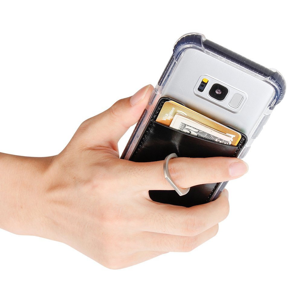 Stick On Wallet Card Holder for Mobile Phone with a Finger Ring Stand Holder -Black 6