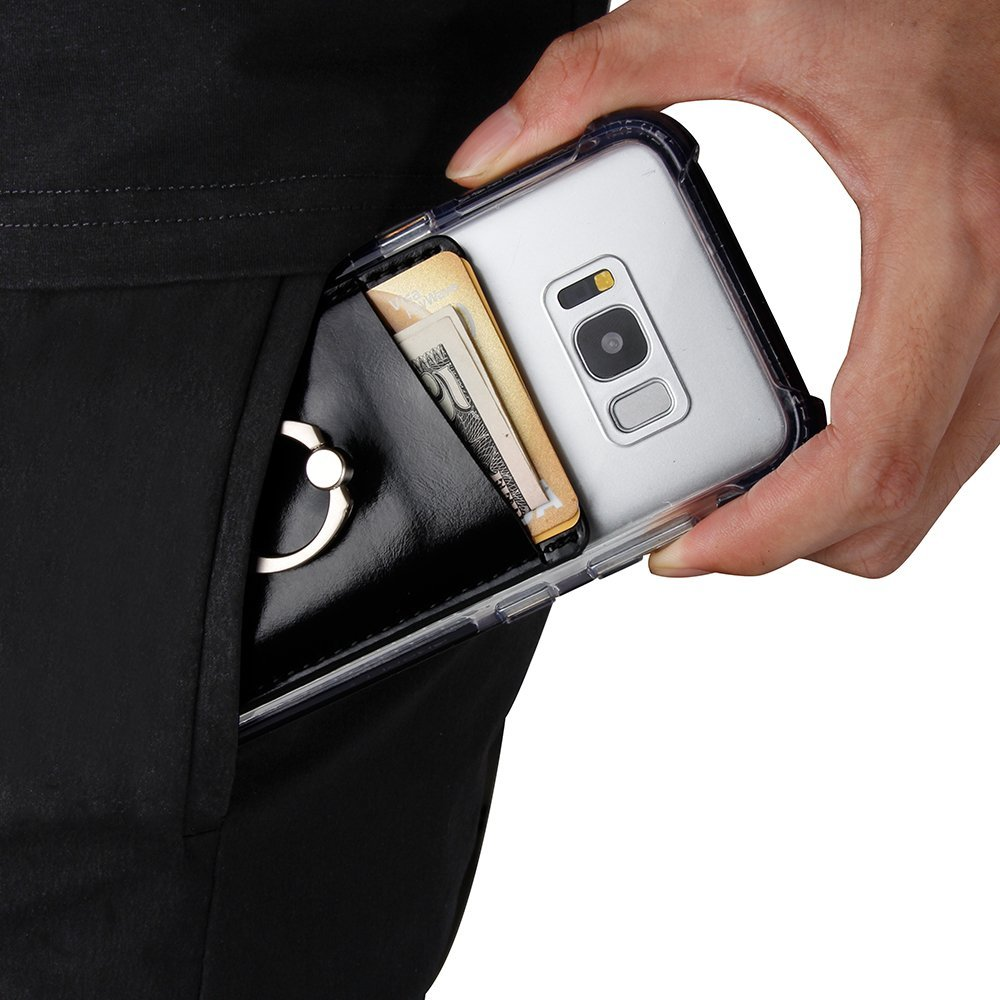 Stick On Wallet Card Holder for Mobile Phone with a Finger Ring Stand Holder -Black 5