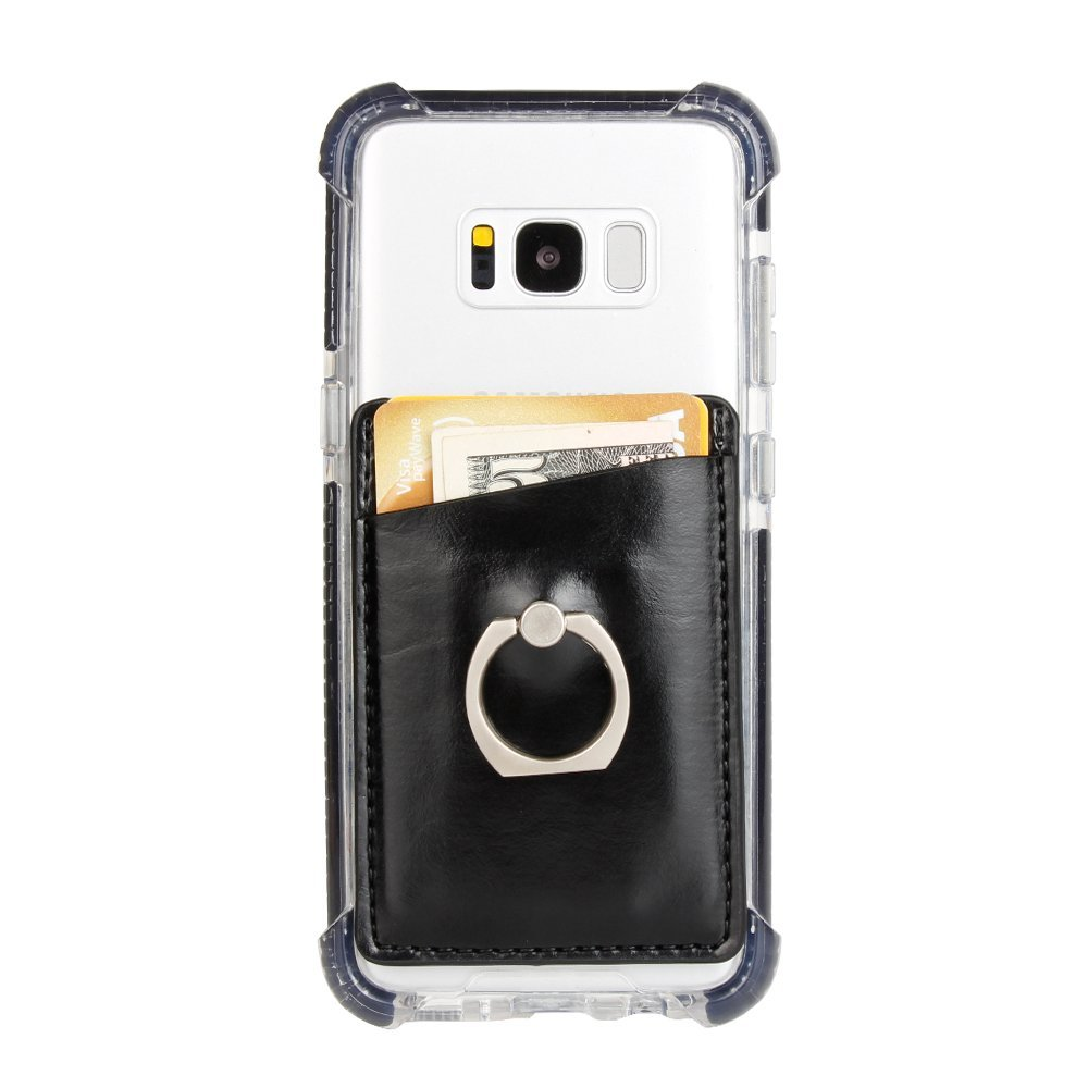 Stick On Wallet Card Holder for Mobile Phone with a Finger Ring Stand Holder -Black 10