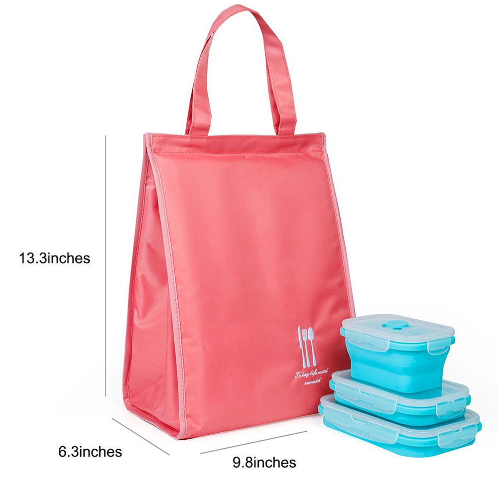 Insulated Lunch Bag with Velcro Closure, Large Capacity Reusable Lunch Bag for Women 8