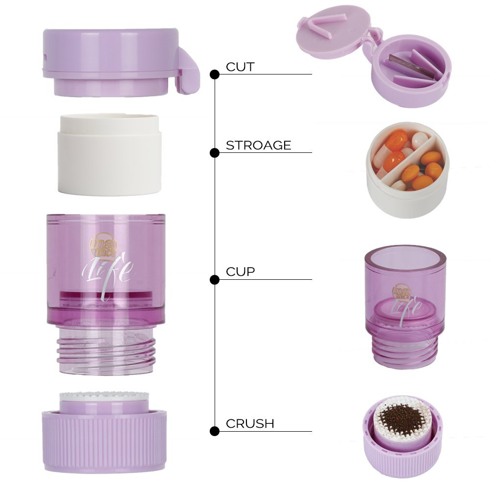 3 IN 1 Pill Tablet Cutter Powder Grinder Medicine Box Storage Container - Purple 8