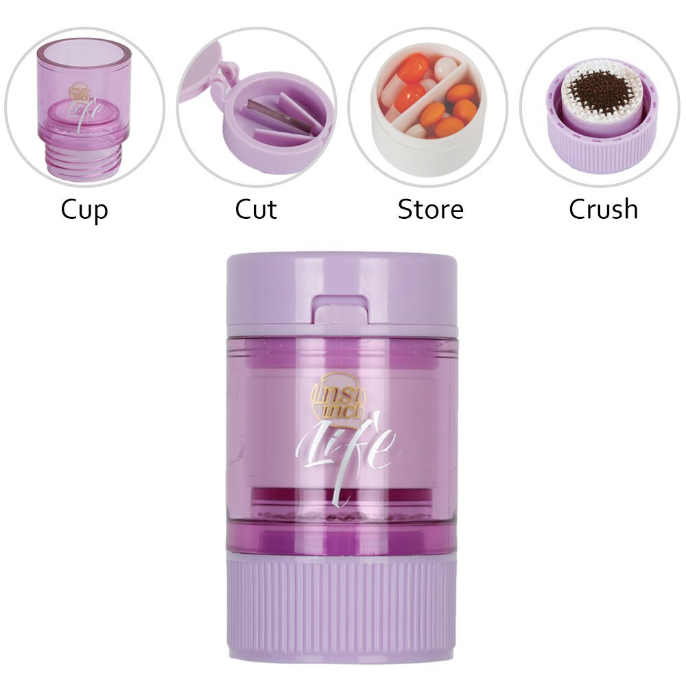 3 IN 1 Pill Tablet Cutter Powder Grinder Medicine Box Storage Container - Purple 9