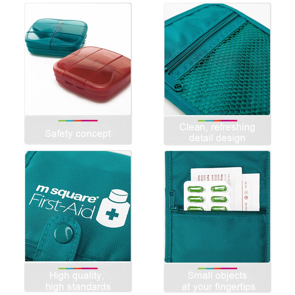 Outdoor Moistureproof Pill Box with nylon First-Aid Packet, 6 compartments Waterproof Medicine Storage Organizer Case 5
