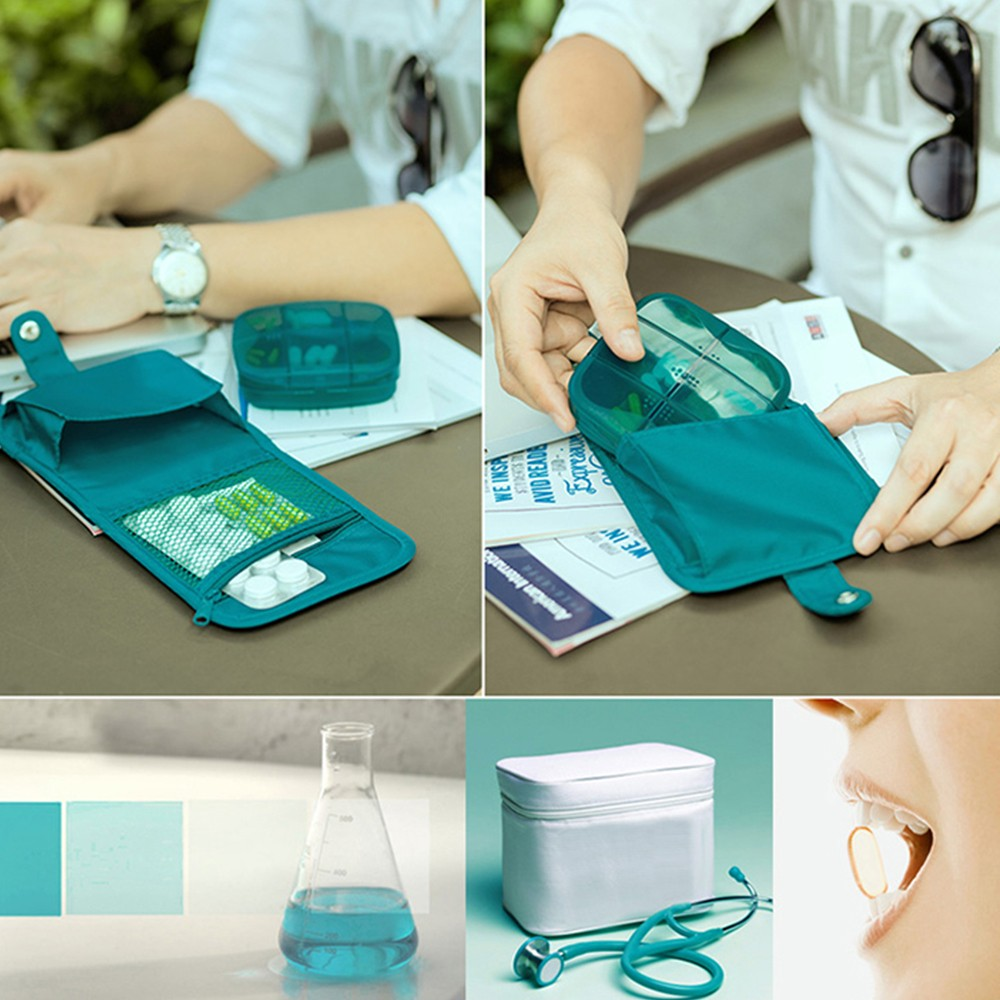 Outdoor Moistureproof Pill Box with nylon First-Aid Packet, 6 compartments Waterproof Medicine Storage Organizer Case 9