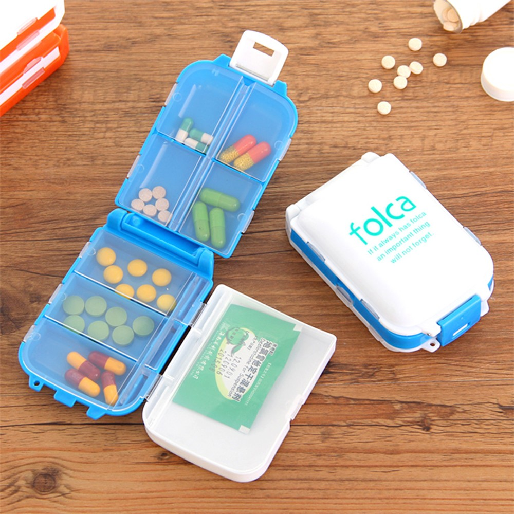 3-folding pill boxes with 8 removable compartments