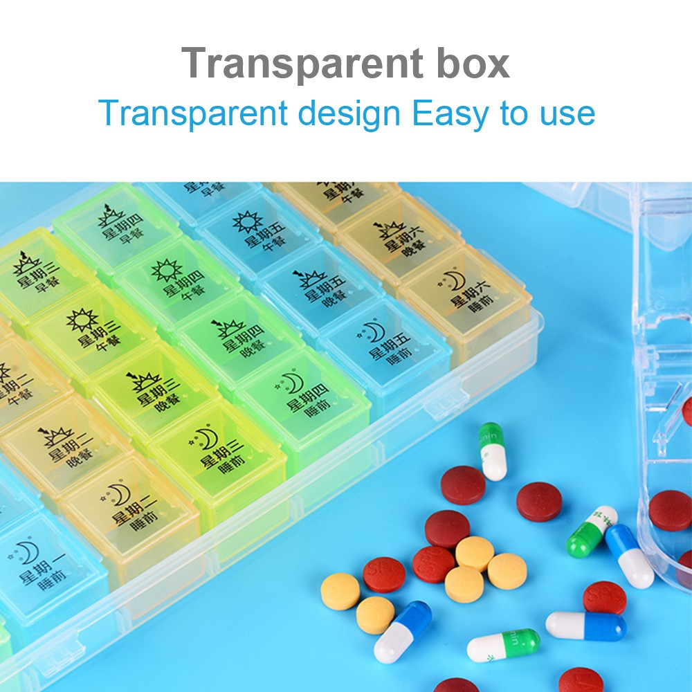 Extra Large 7-Day Weekly Pill Organizer with Waterproof Case, can be used as removable daily pill box 3