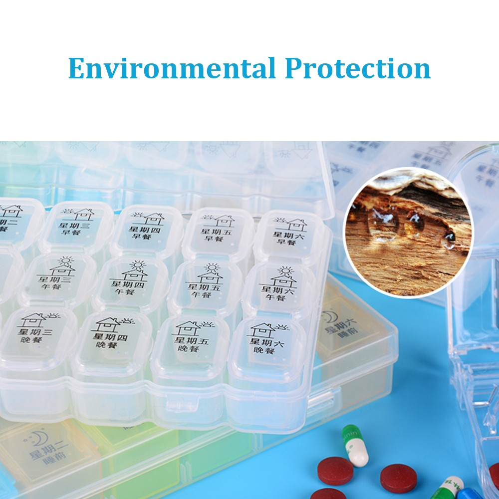 Extra Large 7-Day Weekly Pill Organizer with Waterproof Case, can be used as removable daily pill box 6
