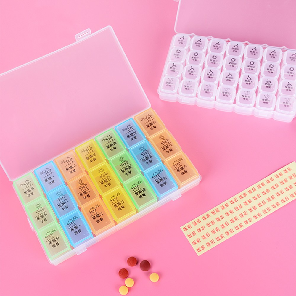 Extra Large 7-Day Weekly Pill Organizer with Waterproof Case, can be used as removable daily pill box 5