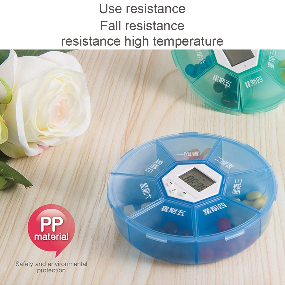 Weekly Digital Pill Organizer with Alarm Clock Timer Reminder and 7 Compartments for Vitamins Supplements and Medication 2
