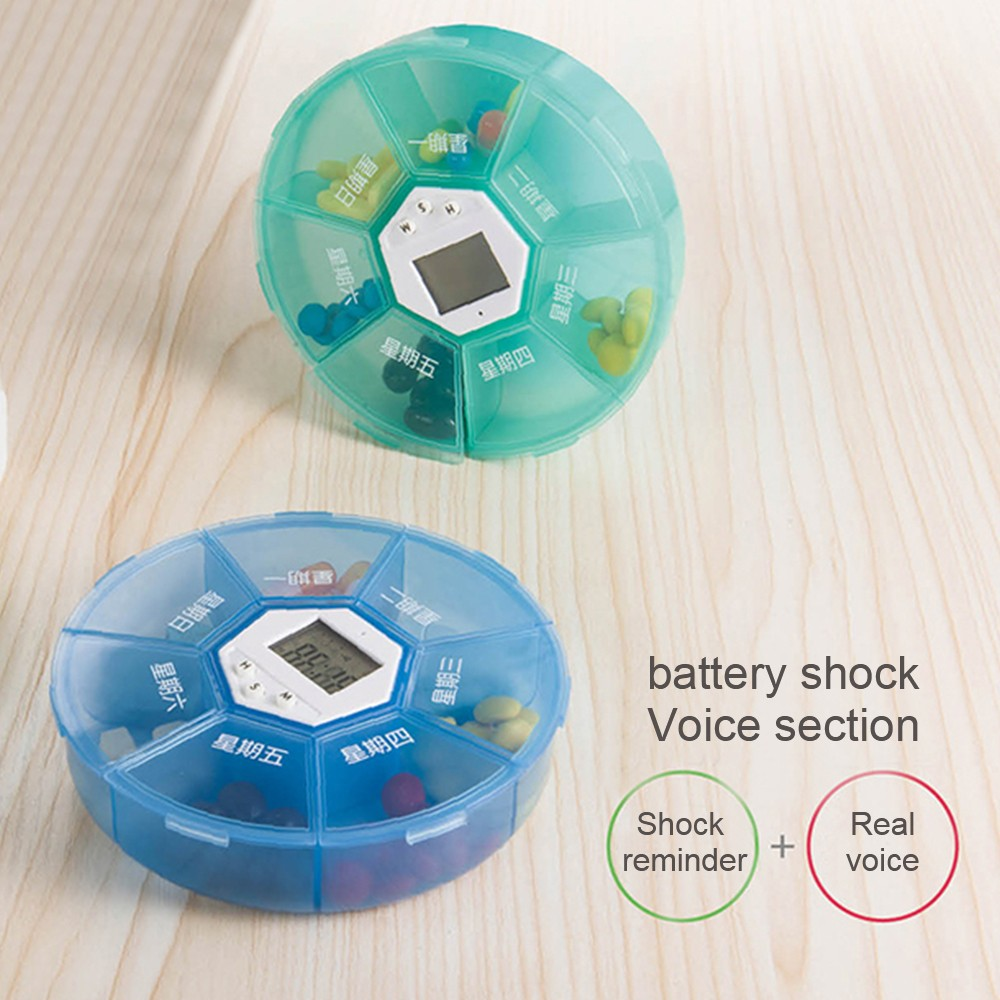 Weekly Digital Pill Organizer with Alarm Clock Timer Reminder and 7 Compartments for Vitamins Supplements and Medication 5