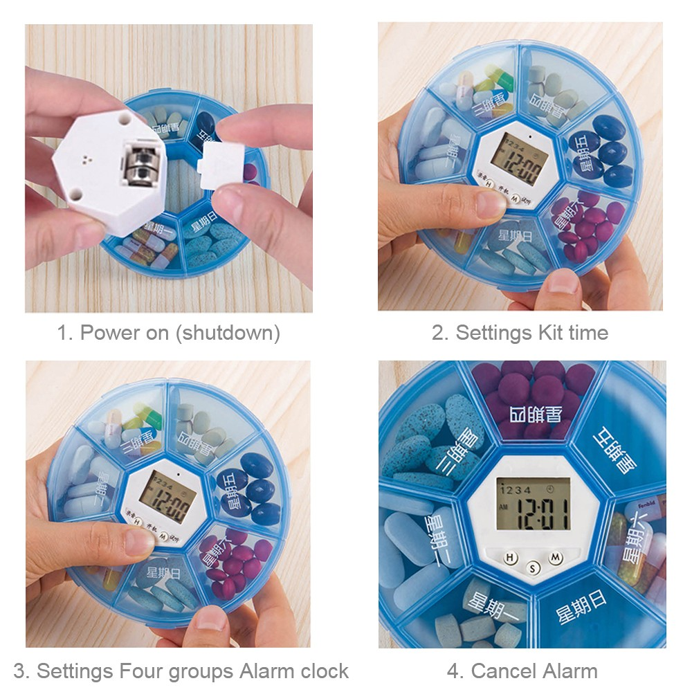 Weekly Digital Pill Organizer with Alarm Clock Timer Reminder and 7 Compartments for Vitamins Supplements and Medication 4
