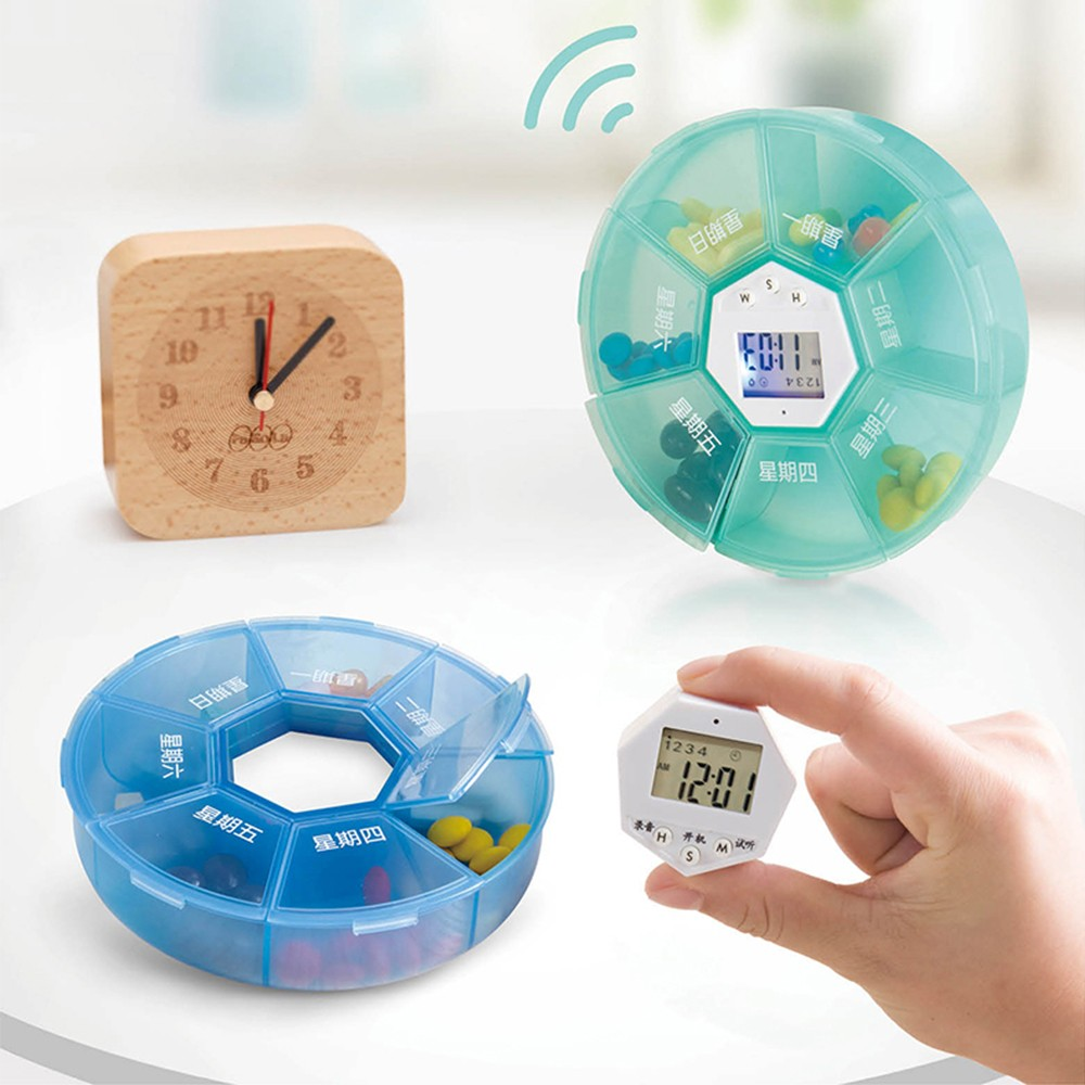Weekly Digital Pill Organizer with Alarm Clock Timer Reminder and 7 Compartments for Vitamins Supplements and Medication 6