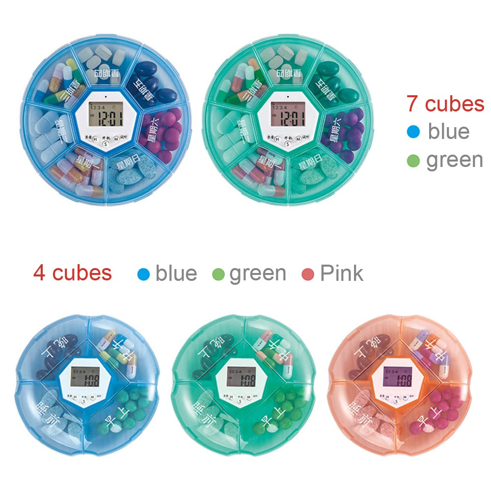 Weekly Digital Pill Organizer with Alarm Clock Timer Reminder and 7 Compartments for Vitamins Supplements and Medication 7