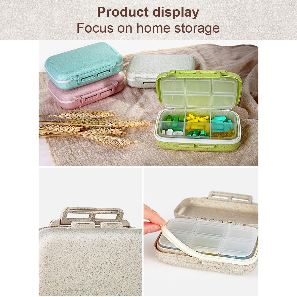 Small Natural Wheat Fiber Weekly Pill Case