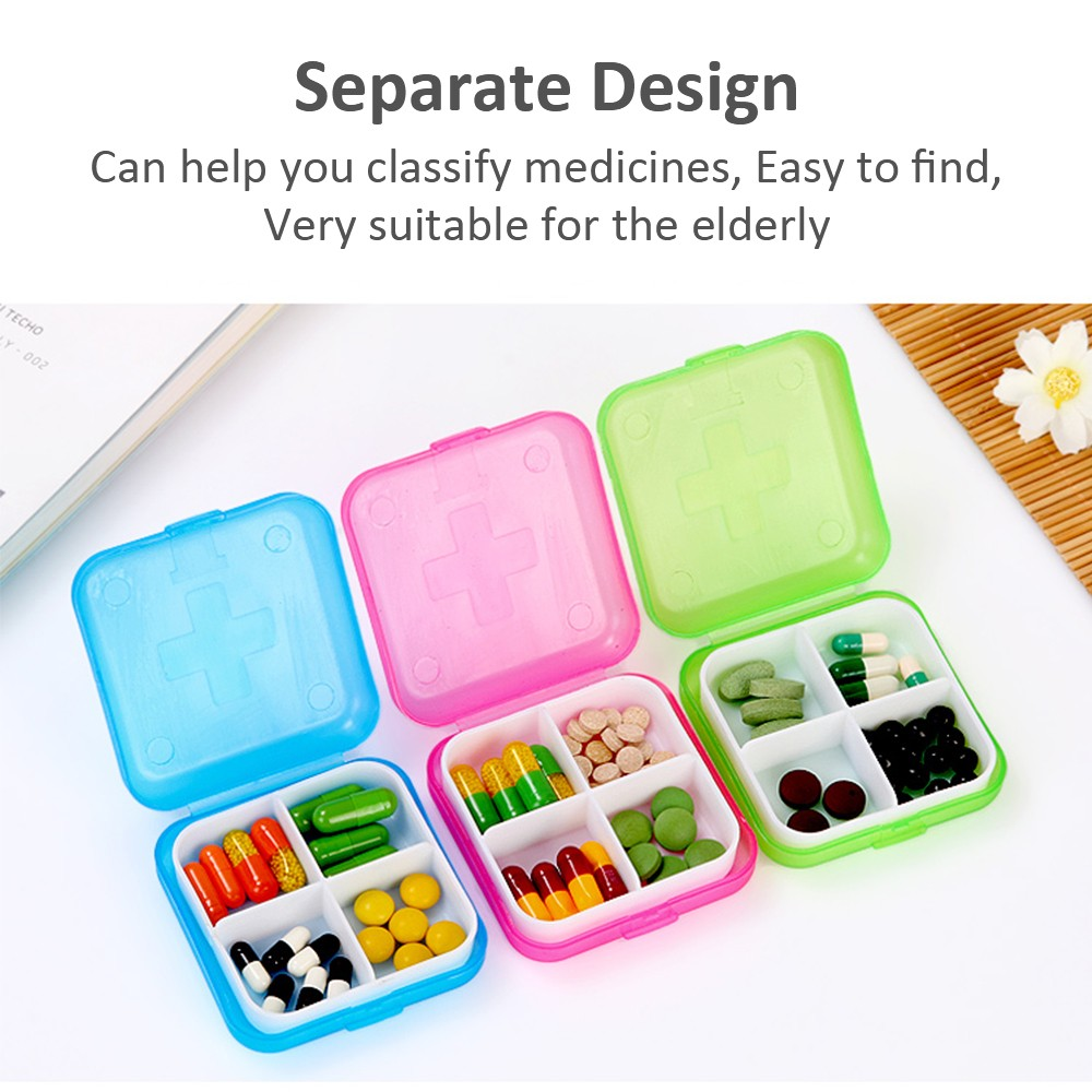 Mini Portable 4 compartments Travel Pill Box, Ideal for Medication, Vitamin, Supplement 6
