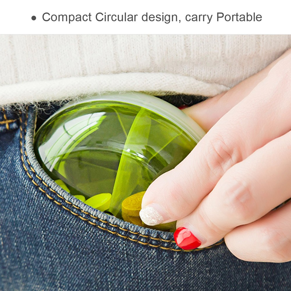 Round pill case for purse, Mini Rotating Medicine Tablet Organizer Case for Daily and Travel Use 5