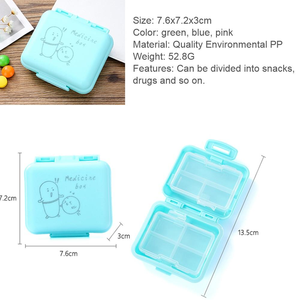 Kids Cartoon Pill Box Organizer, 7 Compartments Vitamin Storage Supplement Case 6