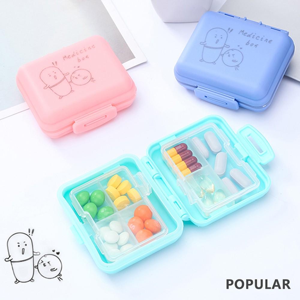 Kids Cartoon Pill Box Organizer, 7 Compartments Vitamin Storage Supplement Case 9