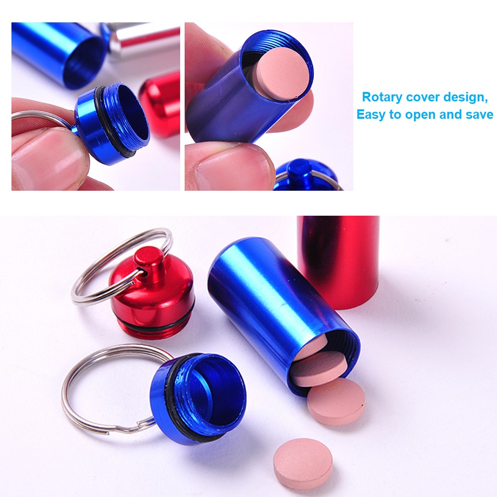 Outdoor Waterproof Aluminum keychain pill holder, Portable Keychain Medication Holder Container For Daily or Travel Use 10