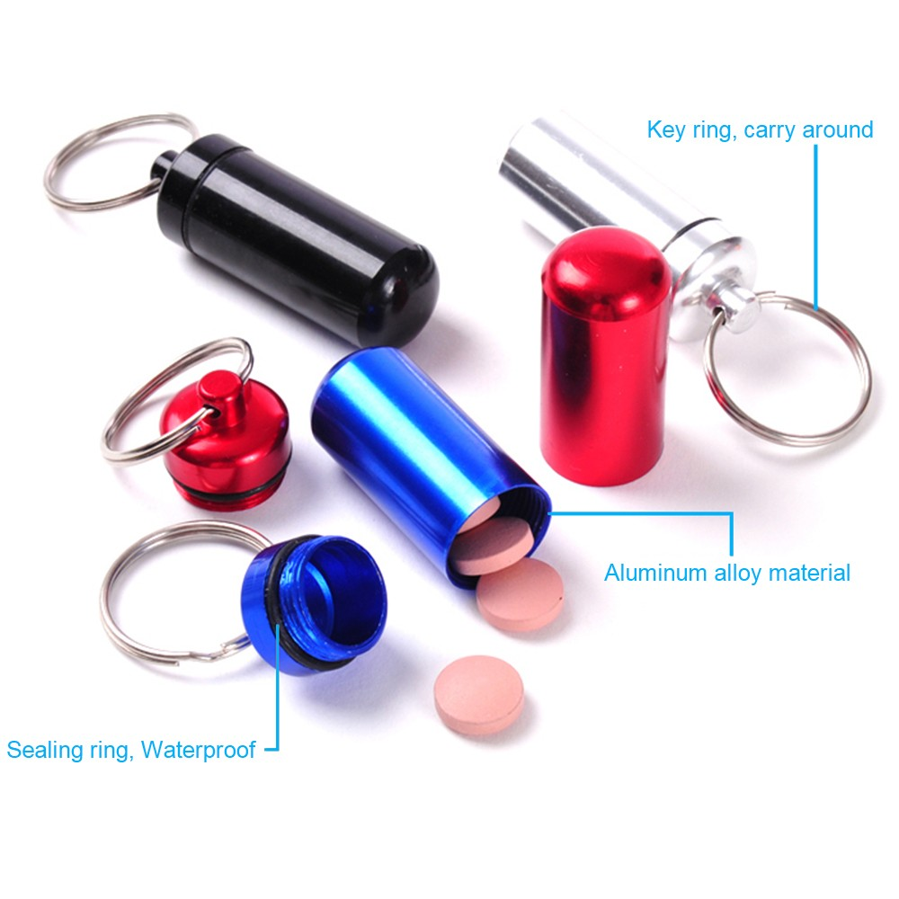 Outdoor Waterproof Aluminum keychain pill holder, Portable Keychain Medication Holder Container For Daily or Travel Use 8