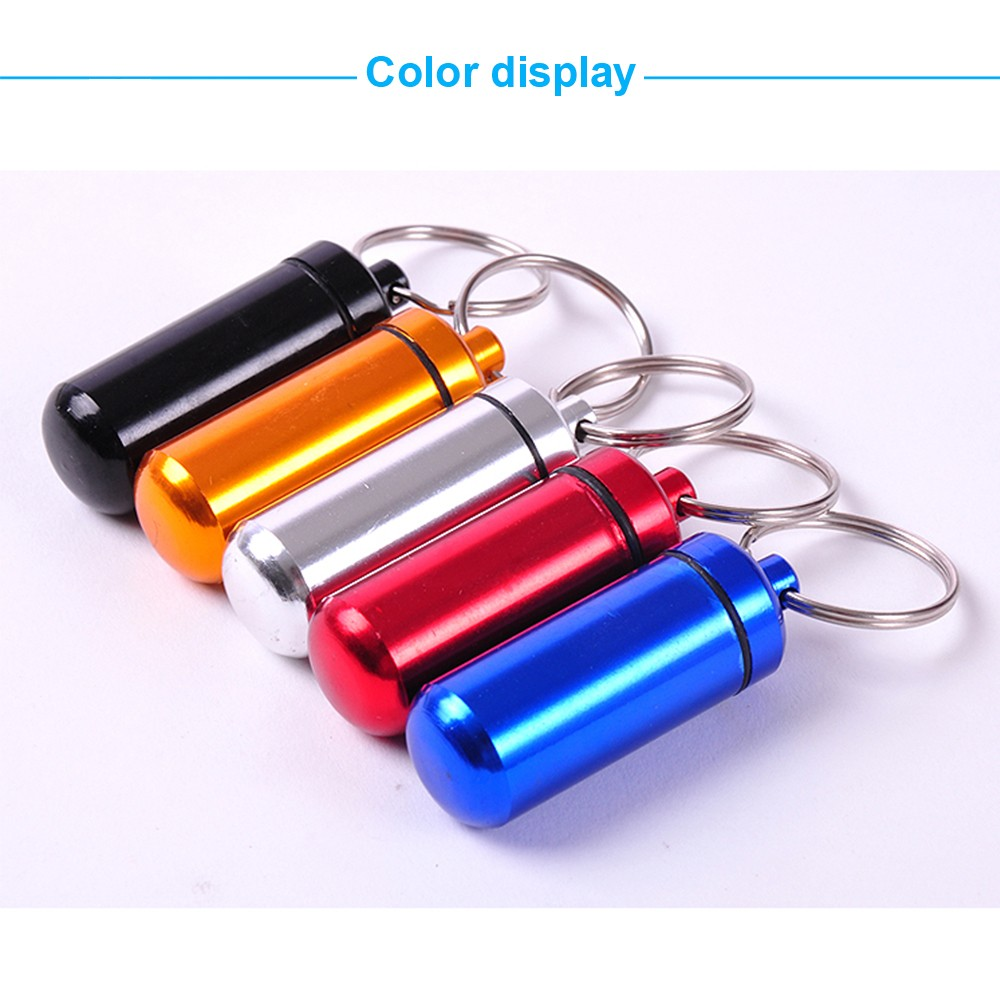 Outdoor Waterproof Aluminum keychain pill holder, Portable Keychain Medication Holder Container For Daily or Travel Use 9
