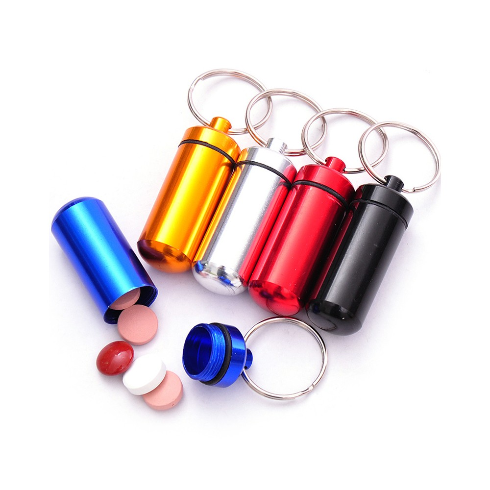 Outdoor Waterproof Aluminum keychain pill holder, Portable Keychain Medication Holder Container For Daily or Travel Use 11