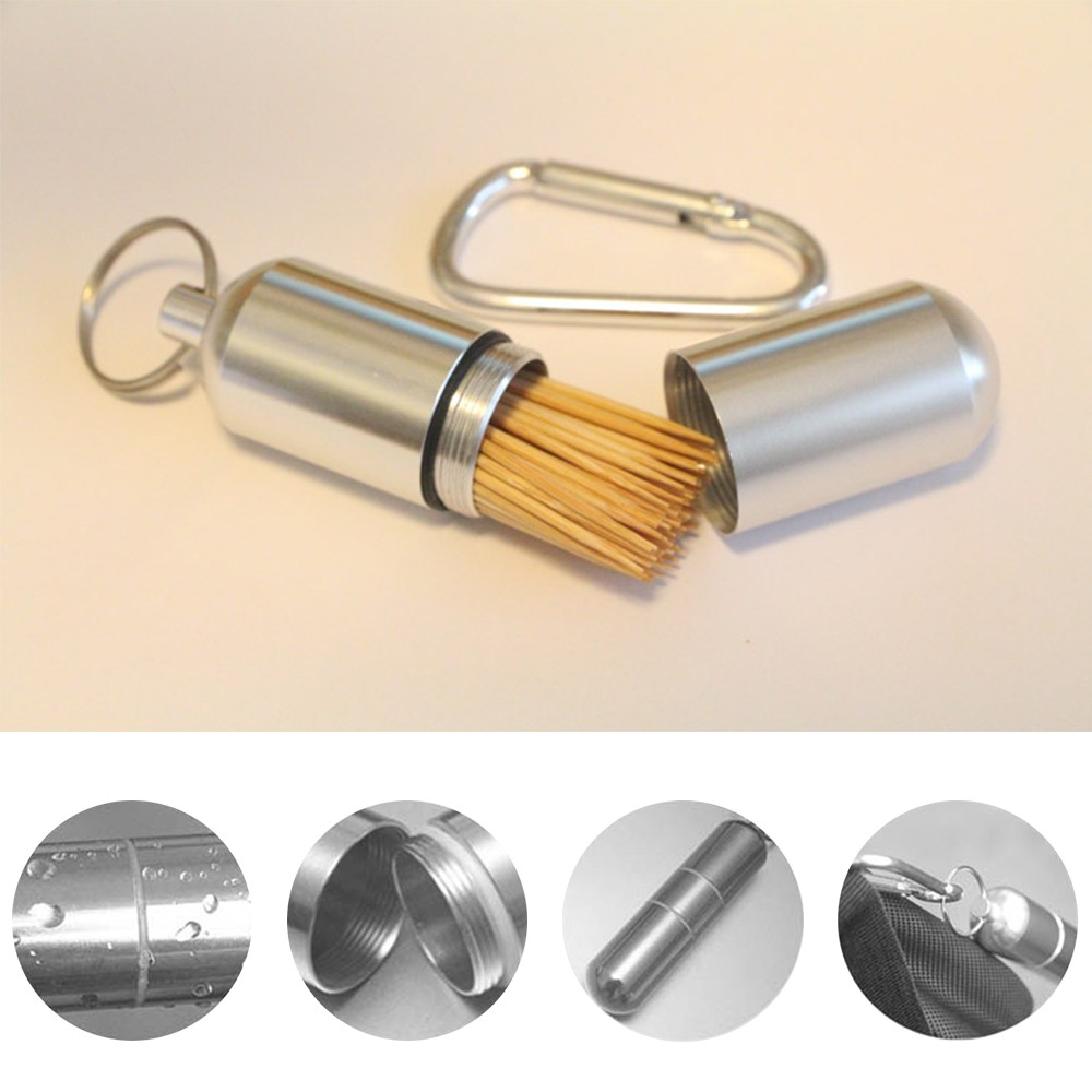Portable Aluminum Pill Box with Keychain