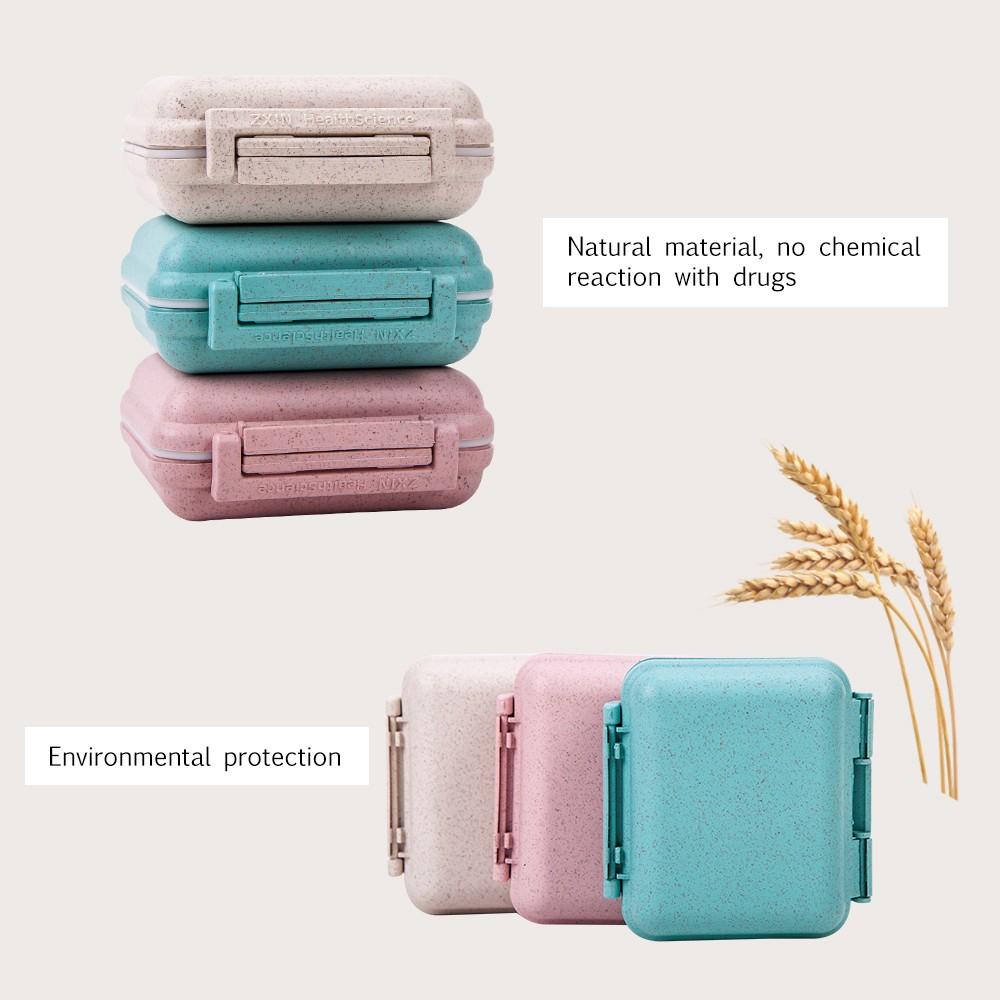 6 Compartments Travel pill Organizer, Small Natural Grain Fibre Pill Box for Purse or Pocket 4