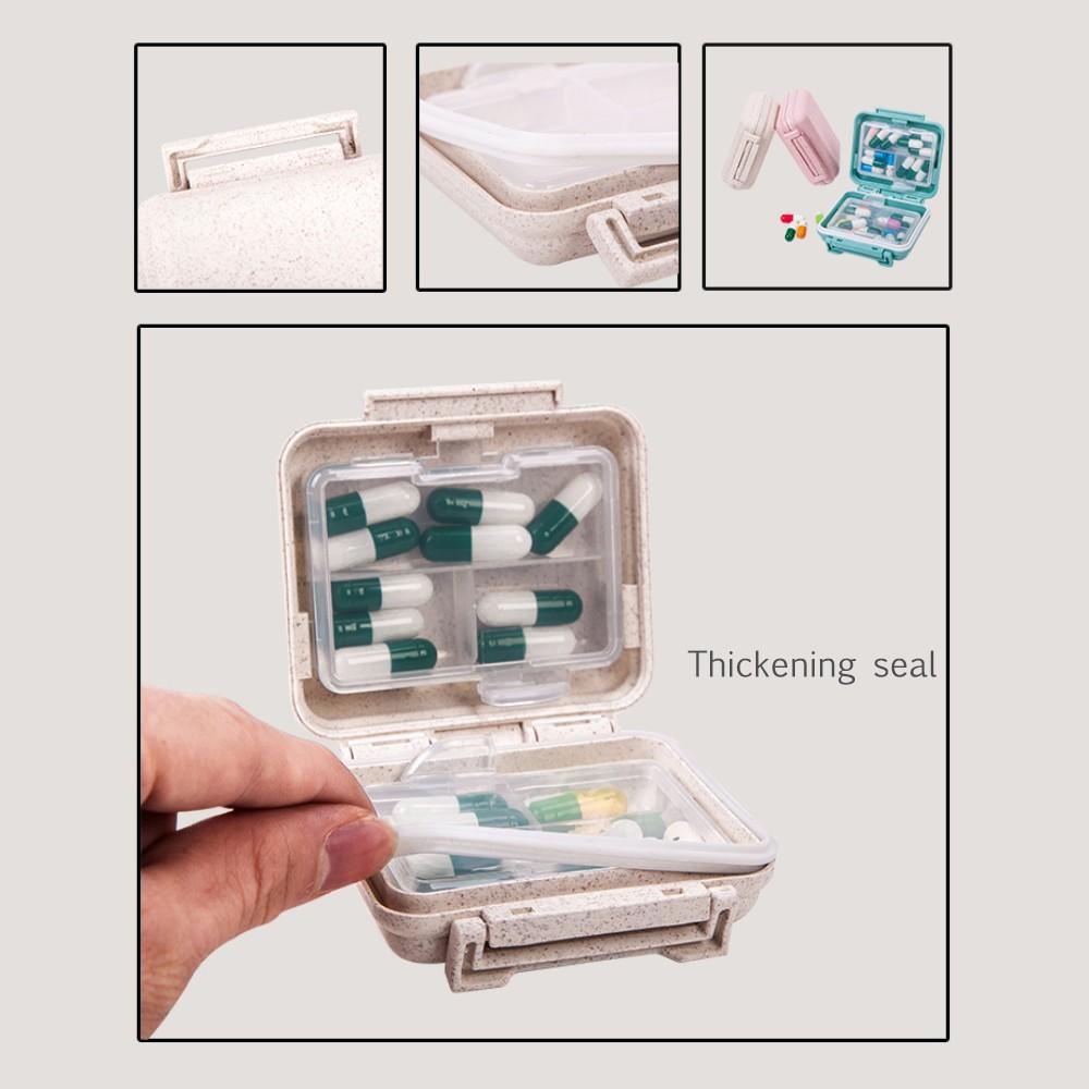 6 Compartments Travel pill Organizer, Small Natural Grain Fibre Pill Box for Purse or Pocket 5