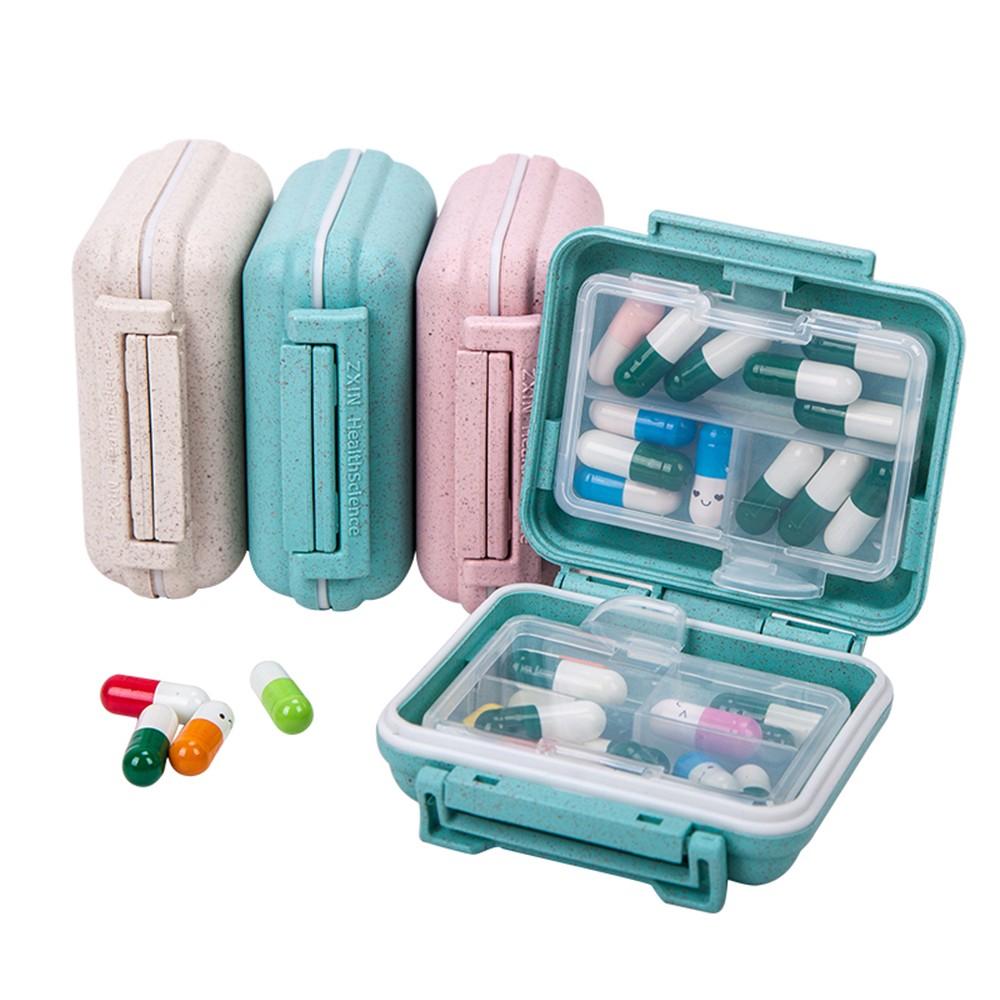 6 Compartments Travel pill Organizer, Small Natural Grain Fibre Pill Box for Purse or Pocket 6