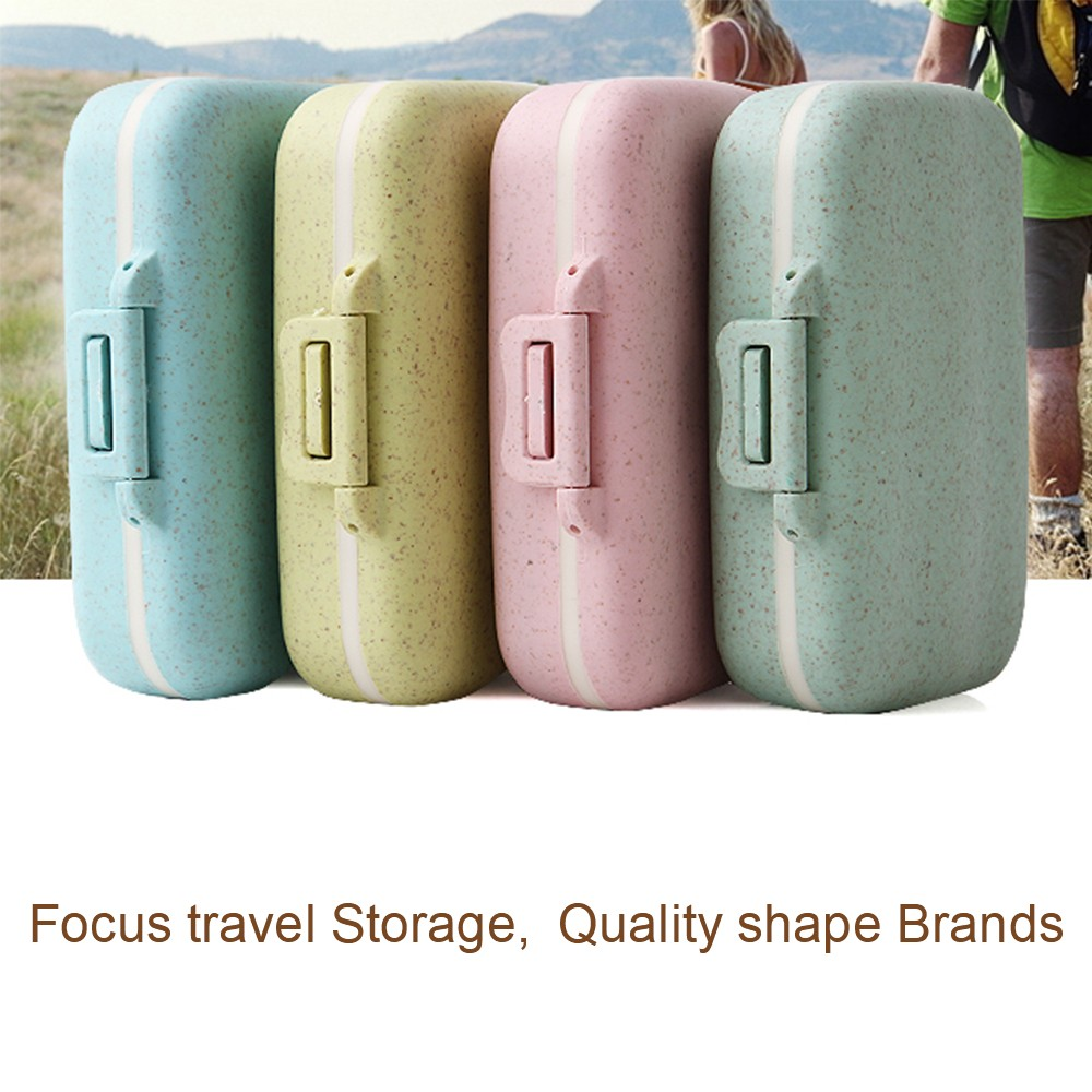 Natural Wheat Fiber Travel pill Organizer With Removable 6-Compartment for Weekly Use 5