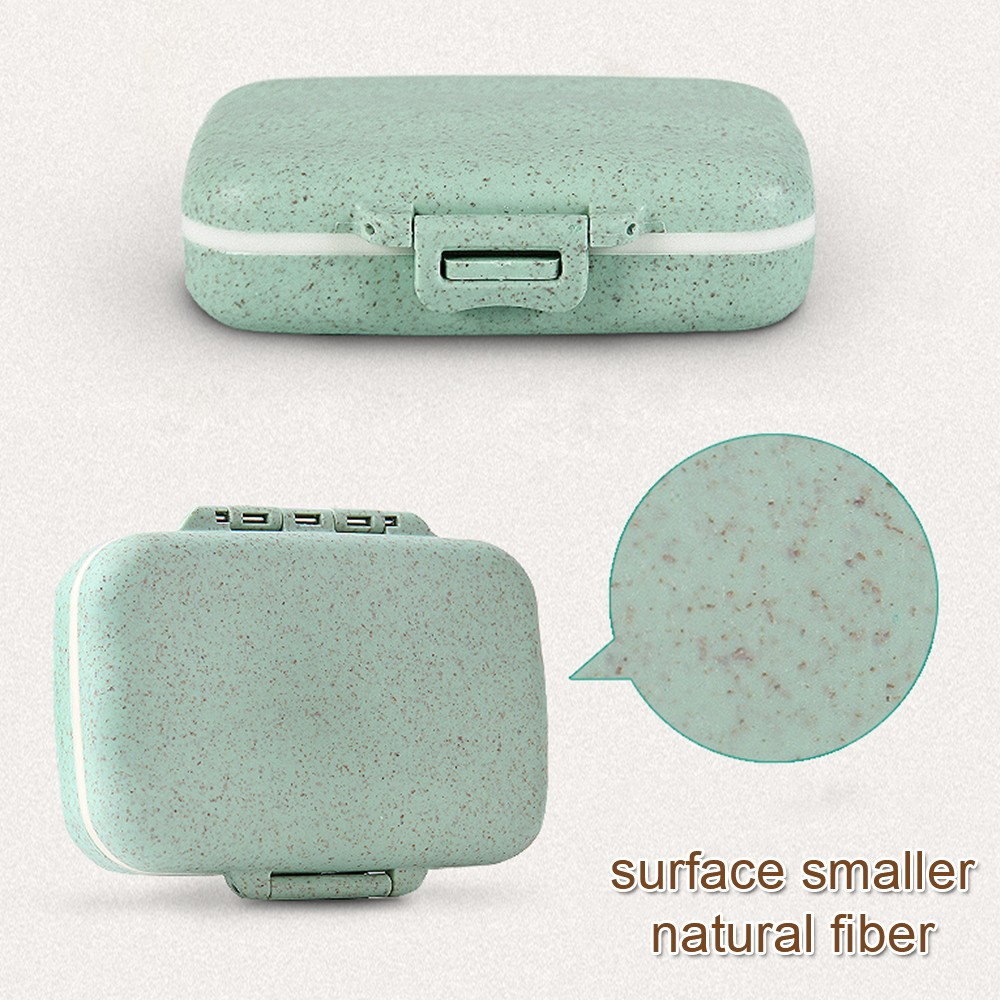 Natural Wheat Fiber Travel pill Organizer With Removable 6-Compartment for Weekly Use 9