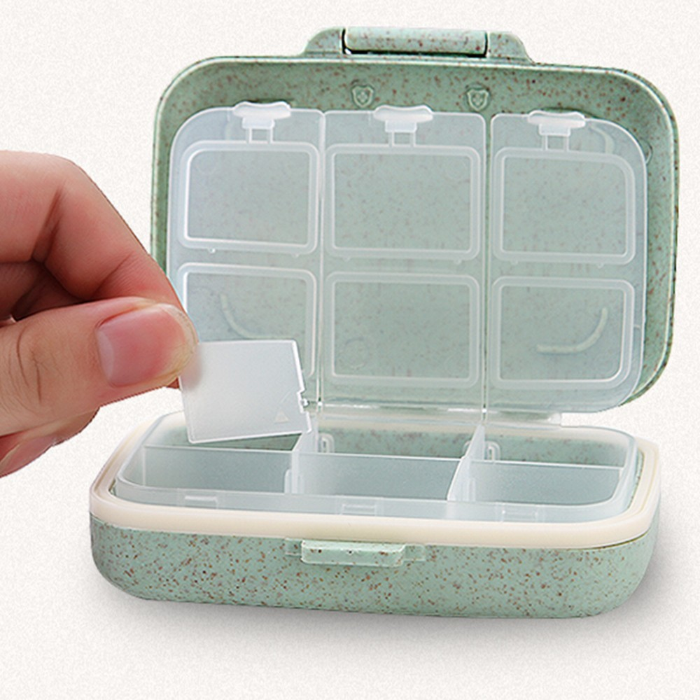 Natural Wheat Fiber Travel pill Organizer With Removable 6-Compartment for Weekly Use 8