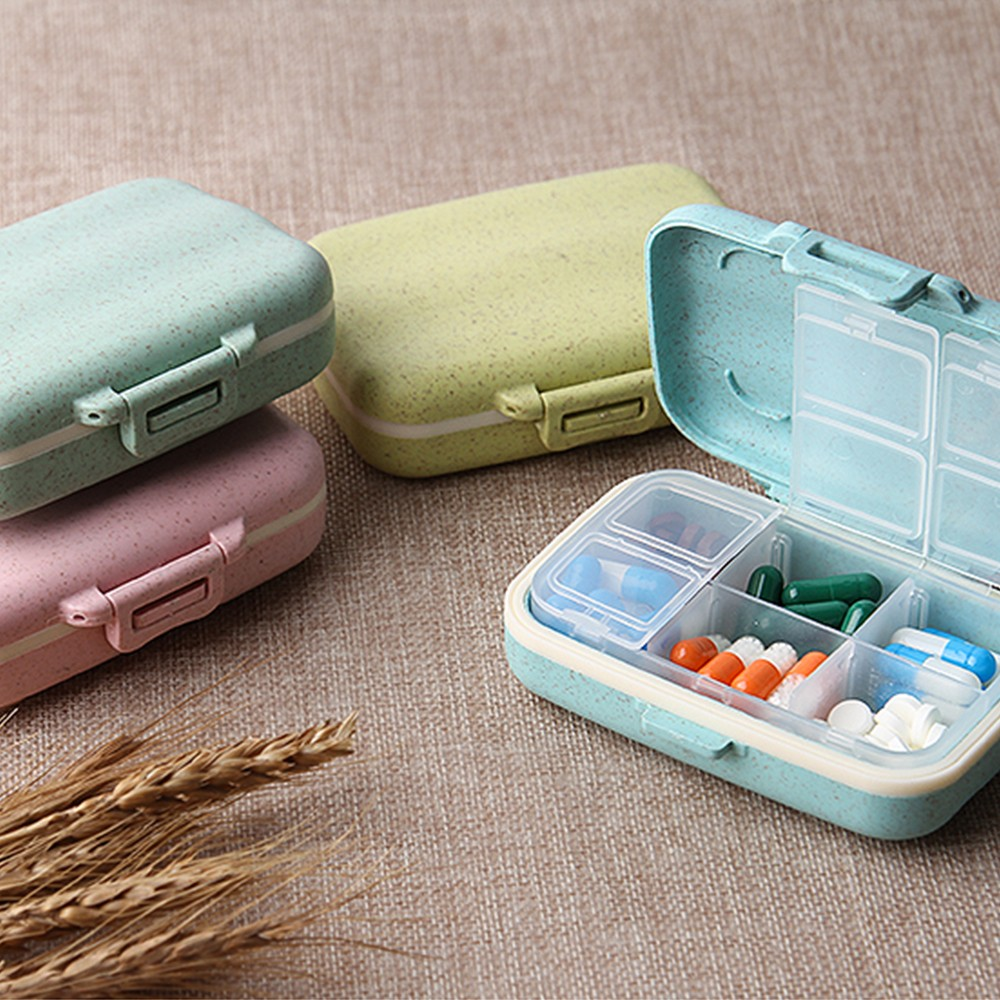 Natural Wheat Fiber Travel pill Organizer With Removable 6-Compartment for Weekly Use 10