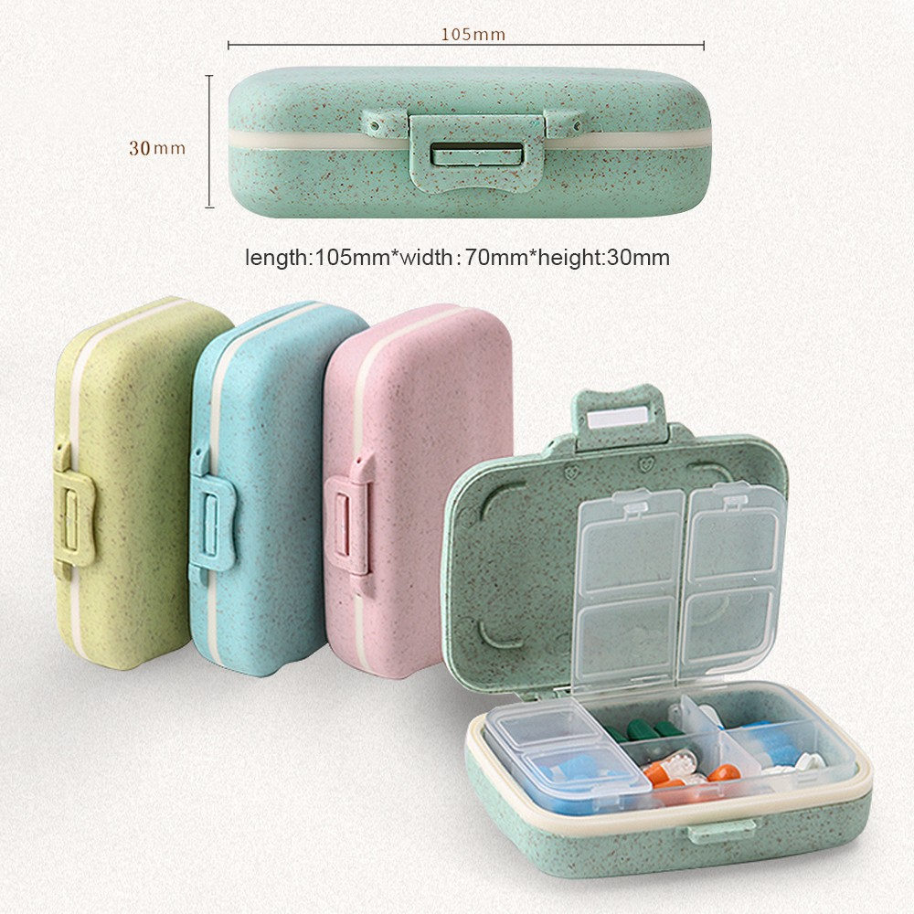 Natural Wheat Fiber Travel pill Organizer With Removable 6-Compartment for Weekly Use 6