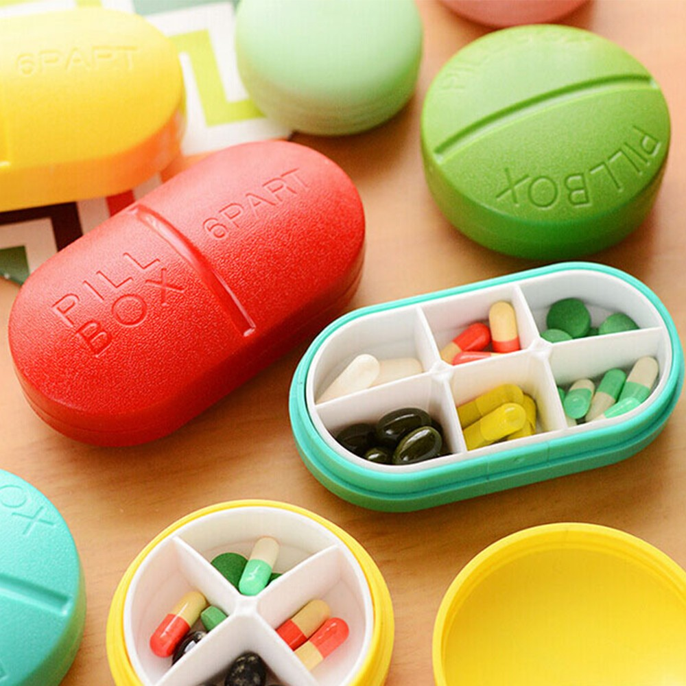 Cute Portable 6 Compartments Travel Medical Pill Box for Pocket or Purse 11