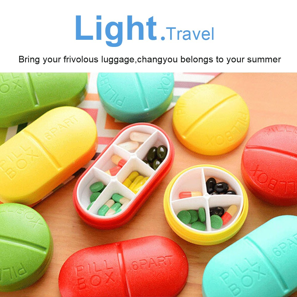 Cute Portable 6 Compartments Travel Medical Pill Box for Pocket or Purse 9