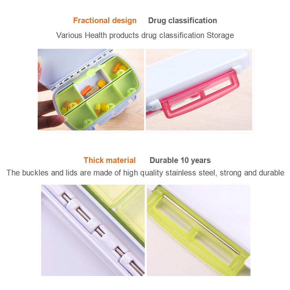 Waterproof Pill Organizer for Weekly and Travel Use, Bonus 1 Medicine Tablet Cutter 7
