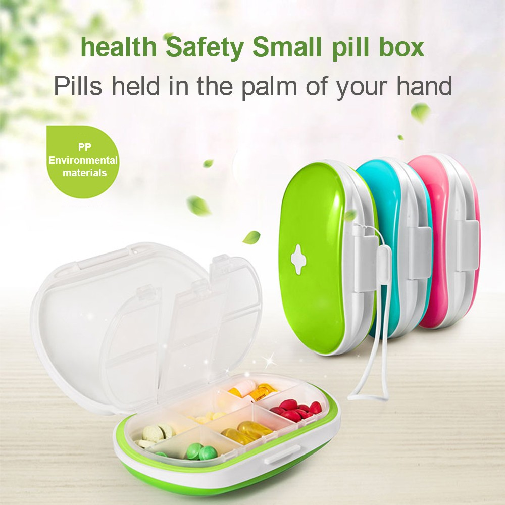 Easy Carry Divided Pill Case with Snap Lid, Tight Lock 6 Compartment Pill Organizer Box for Weekly Use 9